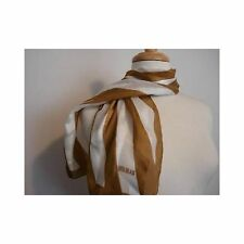 Vintage 1980s Scarf Bill Blass Italy Baar Oblong Gold Creme Stripe Polyester