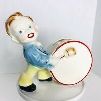 Vintage Ceramic Drummer Boy Planter Red Hair Kitchy Glazed Band Vase Figurine