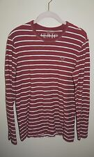 MEN'S AMERICAN EAGLE RED/WHITE STRIPE 100% COTTON LONG SLEEVE SHIRT SIZE S