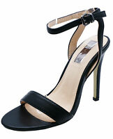 WOMENS BLACK STRAPPY ELEGANT OPEN-TOE SANDALS WEDDING PROM PARTY SHOES UK 3-8