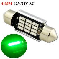 4x 41mm 12SMD LED C5W CANBUS GREEN INTERIOR LIGHT HEAT SINK FESTOON BULB 12-24V