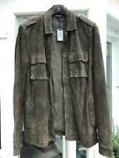All Saints Mens Khaki Green Suede Reserve Jacket Small Brand New with Tags