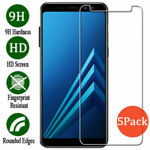 5Pcs Tempered Glass Screen Protector For Samsung Galaxy A3 A5 A7 2017 A6 A8 2018