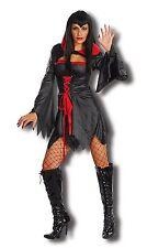 Ladies Coven Queen Halloween Fancy Dress Horror Vampire Costume Black Dress NEW