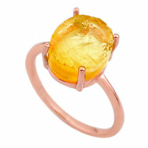 JAIPUR SILVER 5.56cts Solitaire Citrine Rough 14k Rose Gold  Ring Size 8 T33254