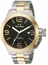 TW Steel Men's CB42 Canteen 50mm Two Tone Yellow Gold Black Dial Bracelet Watch