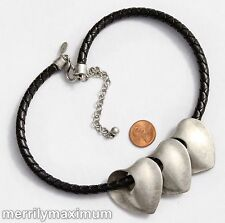 Chico's Signed Necklace Silver Tone Heart Slides Charms Leather Braided Cord