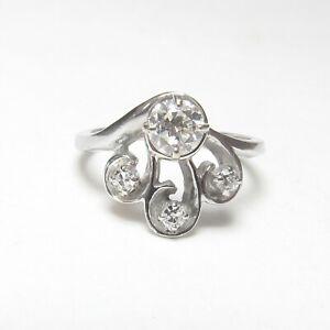 1930s Vintage 14K White Gold 0.50 Ct European Cut Diamond Ring 0.62 Cts Total