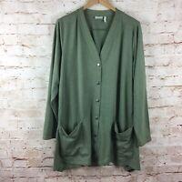 LOGO by Lori Goldstein Green Button Up Cardigan Jacket Sweater Plus Size 2X