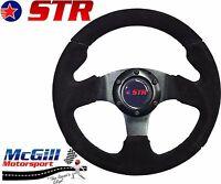 """STR 10.5"""" PRO Flat Steering Wheel Black Suede, Black Spars (265mm) Kit Car Race"""