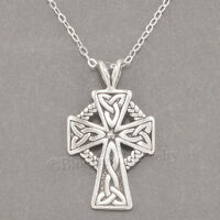 "925 CELTIC CROSS Irish Charm Pendant STERLING SILVER 18"" chain Necklace"
