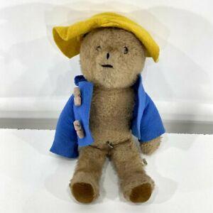 "VTG Musical Eden Paddington Bear Plush Blue Jacket Yellow Hat Stuffed USA 13"""