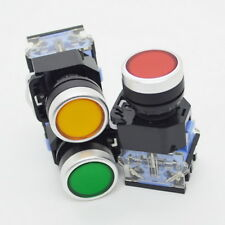 Electrical Emergency Stop Switch Flat Momentary Push Button NO NC Self-Resetting