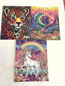 New 2020 Lisa Frank Glitter 2 Pocket Folders Set of 3  Unicorn, Leopard Dolphins