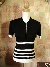 max black white striped zip front jumper  stretchy  cotton