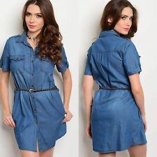 Blue Denim Shirt Dress With Belt Sz Large