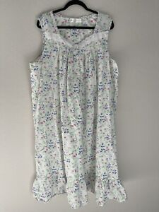 Eileen West Long Nightgown Plus Size 3X 100% Cotton Sleeveless Floral Ruffle