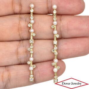 Designer Diamond Pearl 14K Gold Long Bar Earrings NR