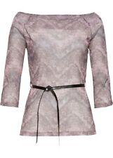 Shirt mit Gurtel Gr. 44/46 Rosa Damenshirt Halbtransparent Bluse Top Tunika Neu`