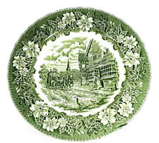 """Chipped ROYAL TUDOR WARE Coaching Taverns 1828 Green 9"""" Dinner Plate England"""