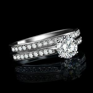 Women's White Gold Plated Diamond Crystal Engagement/Wedding Ring TWO Piece Set