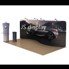 20ft S Shape Fabric Tension Trade Show Display Booth Backdrop Wall Pop Up Stand