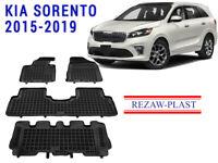 All Weather Floor Mats Liners Set For Kia Sorento 2016-2020 Suv 3D Black Custom