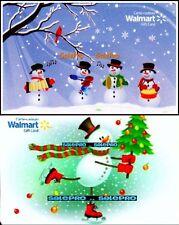 2x WALMART CHRISTMAS SNOWMAN SINGING & SKATING RARE COLLECTIBLE GIFT CARD LOT