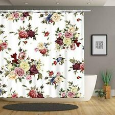 Rose Floral Victorian White Colorful Farmhouse Fabric Shower Curtain Boho Chic