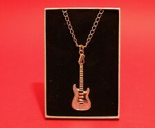 "Gold & Silver Plated Electric Guitar Pendant on 24"" Chain Musician Music Gift"
