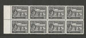 TURKS & CAICOS KGVI 1938 1/4d BLACK MARGINAL BLOCK OF 8 MNH SG;194