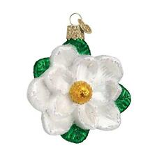 WHITE MAGNOLIA FLOWER TREE OLD WORLD CHRISTMAS GLASS FLORAL ORNAMENT NWT 36093