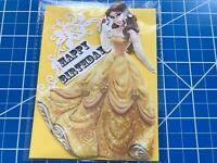 Birthday Card Disney Princess Belle Beauty And The Beast Rose On Yellow Handmade