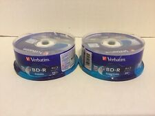 Verbatim BD-R 25GB 16X Blu-ray Recordable Media Disc ,25 Pack Lot of 2 New