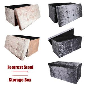 2 Seater Crushed Velvet Ottoman Double Storage Bin Box Bed Foot Stool Bedroom UK