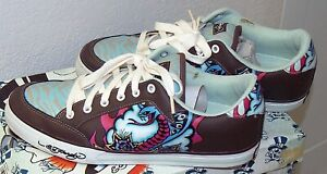 ED HARDY Low Top Skate Shoes Men's size 11 Lace Up Cobra