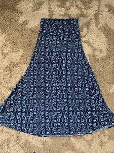 EUC LuLaRoe Maxi Skirt Women's Size Small S Blue Floral Design Tube Dress
