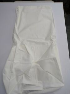 Pottery Barn Square Dining Side Chair Long Slipcover Twill Warm White #9237