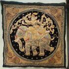 Antique Vintage Burmese Kalaga Tapestry Wall Hanging 24x24 Textile Fabric beaded