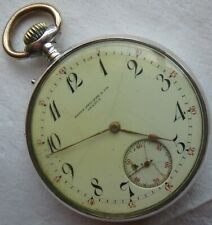 Patek Philippe pocket watch open face silver case 52 mm. in diameter