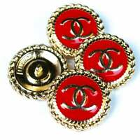 Stamped Chanel buttons 4 pieces  Metal logo CC  0,8 inch or 22 mm Gold Red