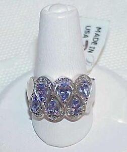 14k 1.00ct 6 Pear Tanzanite Diamond Ring New TAG Size 7 White Gold ZigZag Rows