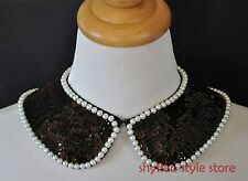 Black & White Peter Pan Collar Sequins Faux Pearls Necklace Choker Fashion NEW