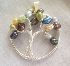 Handmade Tree of Life Pendant Genuine Pearl Wire Wrap Silver Necklace Birthstone