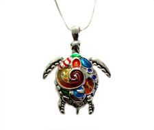 "Clolrful Enameled  Sea Turtle  Large Pendant  Necklace   with  24"" Chain"