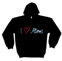 I LOVE ALIENS gothic RHINESTUD  HOODY  HOODIES (any size)