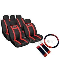 red car Racing leather look seat cover wheel cover seat belt pads Universal Set