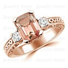 Peach Pink Morganite & Diamond Three Stone Engagement Ring 14k Rose Gold Vintage