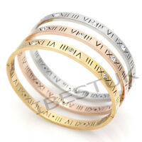 Titanium Steel 18K Gold Plated Austrian Crystal Roman Numeral Number Cuff Bangle