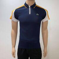 Lacoste Mens Sport Zip Neck Contrast Bands Pique Tennis Polo XS Fr 2 Blue